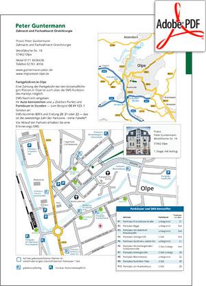 PDF-Preview: Anfahrt und Parken Zahnarzt-Praxis Peter Guntermann, Olpe