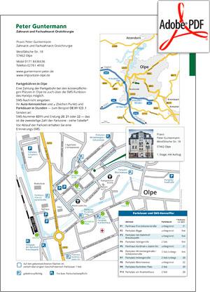 Vorschau PDF- Anfahrt und Parken Zahnarzt-Praxis Peter Guntermann, Olpe
