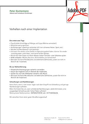Vorschau PDF - Verhalten nach Implatation - Zahnarzt und Oralchirurg Peter Guntermann, Olpe