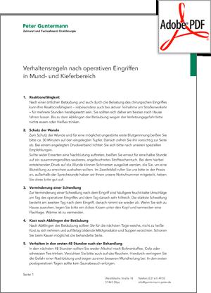 Vorschau PDF - Verhaltensregeln nach operativen Eingriffen im Mund- und Kieferbereich. Zahnarzt und Oralchirurg Peter Guntermann, Olpe